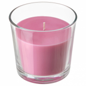 СИНЛИГ Ароматическая свеча в стакане, Вишневый, ярко-розовый, 9 см