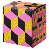 ОМБЮТЕ Упаковочная коробка, розовый/желтый, 33x33x35 см