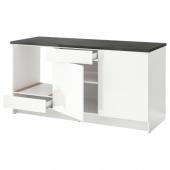 КНОКСХУЛЬТ Напольный шкаф с дверцами и ящиком, глянцевый белый, 180 см