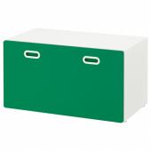 СТУВА / ФРИТИДС Скамья с отделением для игрушек, белый, зеленый, 90x50x50 см