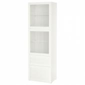 БЕСТО Комбинация д/хранения+стекл дверц, белый, Ханвикен белый прозрачное стекло, 60x42x193 см
