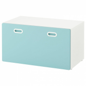 СТУВА / ФРИТИДС Скамья с отделением для игрушек, белый, голубой, 90x50x50 см