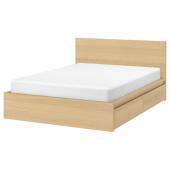МАЛЬМ Каркас кровати+2 кроватных ящика, дубовый шпон, беленый, Лурой, 180x200 см