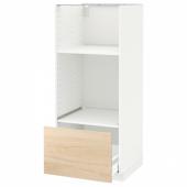 МЕТОД Высокий шкаф с ящиком д/духовки/СВЧ, белый, Аскерсунд под светлый ясень, 60x60x140 см