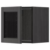 МЕТОД Навесной шкаф со стеклянной дверью, черный, Лерхюттан черная морилка, 40x40 см