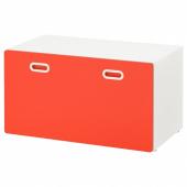 СТУВА / ФРИТИДС Скамья с отделением для игрушек, белый, красный, 90x50x50 см