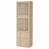 БЕСТО Комбинация д/хранения+стекл дверц, под беленый дуб, Лаппвикен под беленый дуб, прозрачное стелко, 60x42x193 см